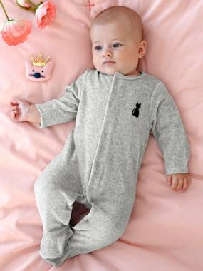 pyjama-Baby-Babies' Velour Pyjamas, Organic Collection, with Decorative detail on the Back