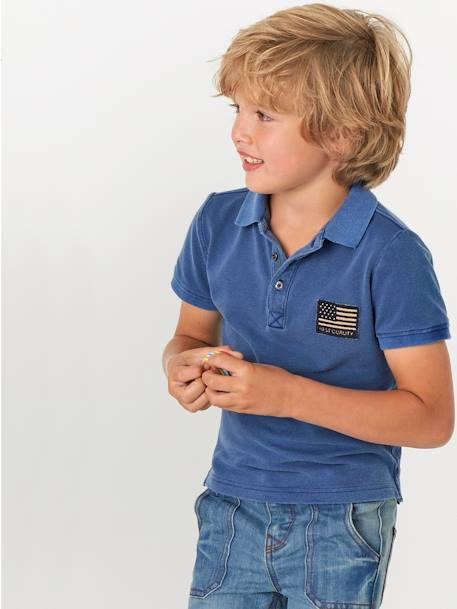 NARROW Fit - Boys' Straight Cut Trousers BLACK MEDIUM WASCHED+BLUE DARK WASCHED - vertbaudet enfant