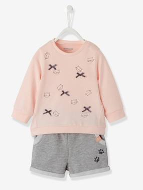 Arc-en-ciel-Ensemble T-shirt et short molleton bébé fille
