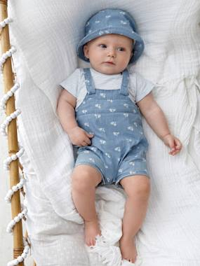Vertbaudet Collection-Baby Boys' Denim Outfit: Bodysuit, Dungarees & Hat