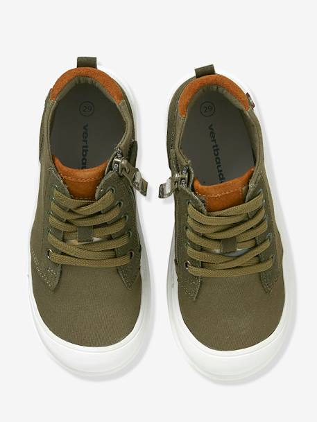 Boys' Leather High-Top Trainers, in Fabric GREEN MEDIUM SOLID - vertbaudet enfant