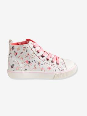 Shoes-Girls' Leather High-Top Trainers, in Fabric