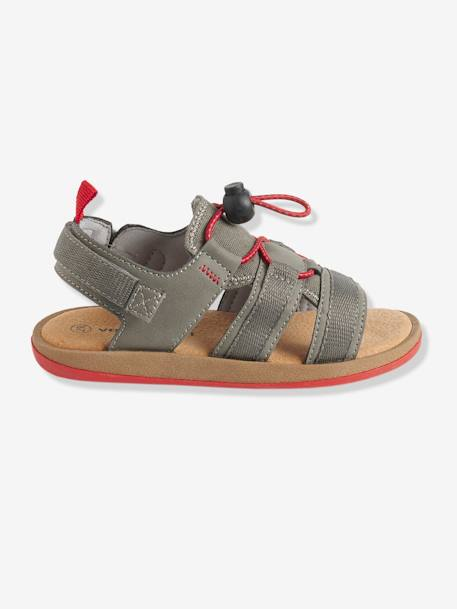 Boys' Sandals with Touch 'n' Close Fastening Tab BLUE DARK SOLID+GREEN MEDIUM SOLID+GREY DARK SOLID - vertbaudet enfant