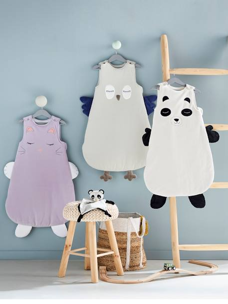 Sleeveless Sleep Bag, Owl Theme BEIGE LIGHT SOLID WITH DESIGN - vertbaudet enfant