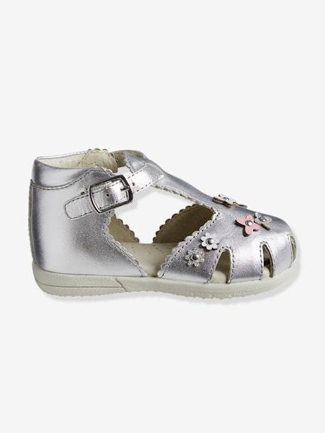 Girls' First Steps Leather Sandals GREY LIGHT METALLIZED+PINK MEDIUM SOLID - vertbaudet enfant