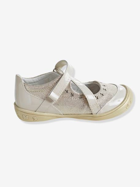 Girls' Leather Ballerina Shoes, Autonomy Collection PINK LIGHT SOLID+WHITE DARK SOLID - vertbaudet enfant