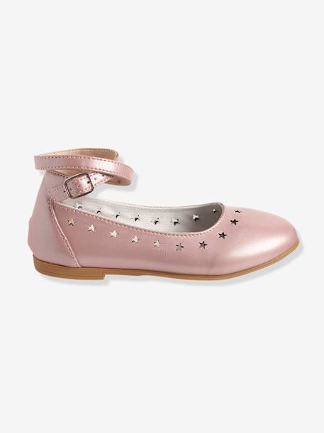 Girls Ballerinas BLACK DARK SOLID+PINK LIGHT SOLID+Silver - vertbaudet enfant