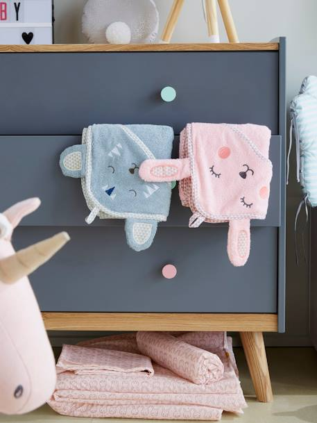 Baby Hooded Bath Cape With Embroidered Animals GREEN LIGHT SOLID WITH DESIGN+Grey blue+Pink+White - vertbaudet enfant