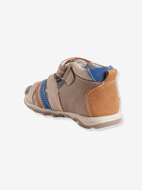 Boys Leather Sandals With Touch N Close Fastening BEIGE DARK SOLID WITH DESIGN+Blue - vertbaudet enfant