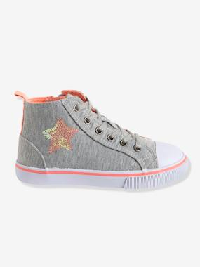 Shoes-Girls Footwear-Girls' Leather High-Top Trainers, in Fabric