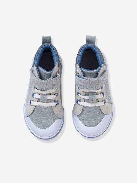 Boys' Leather High-Top Trainers, in Fabric GREY MEDIUM MIXED COLOR+WHITE LIGHT ALL OVER PRINTED - vertbaudet enfant