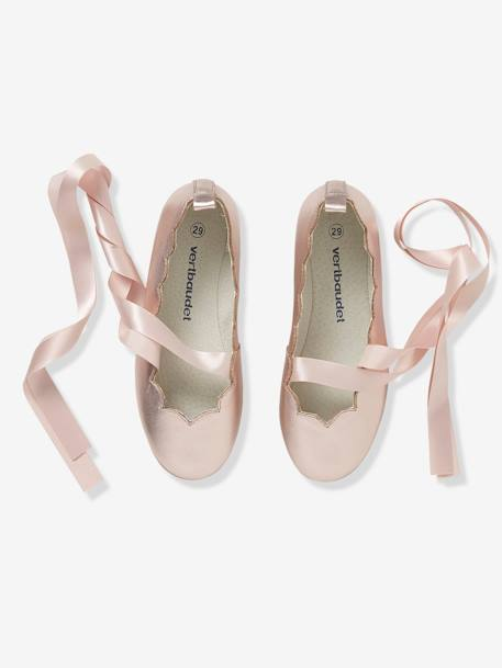 Girls' Ballerina Shoes with Ribbons, in Metallized Leather PINK MEDIUM METALLIZED - vertbaudet enfant