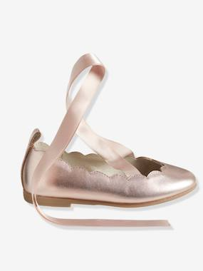 Shoes-Girls Footwear-Ballerinas & Mary Jane Shoes-Girls' Ballerina Shoes with Ribbons, in Metallized Leather