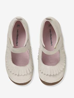 Vertbaudet Collection-Girls' Leather Ballerina Shoes