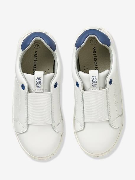 Boys' Leather Trainers with Elastic BLUE DARK SOLID+GREY MEDIUM  ALL OVER PRINTED+WHITE LIGHT SOLID - vertbaudet enfant