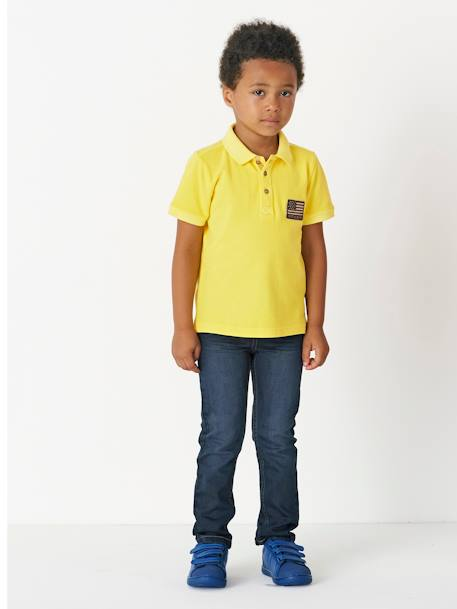 Boys' Faded-Effect Polo Shirt BLUE DARK SOLID WITH DESIGN+RED BRIGHT SOLID WITH DESIG+YELLOW MEDIUM SOLID WTH DESIGN - vertbaudet enfant