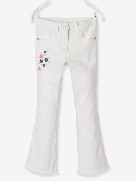 Girls' Embroidered Bootcut Trousers WHITE LIGHT SOLID WITH DESIGN - vertbaudet enfant