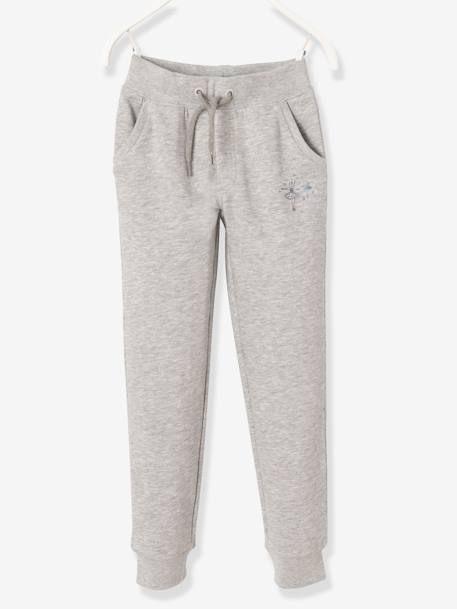 Girls' Fleece Trousers BLUE DARK SOLID WITH DESIGN+GREY LIGHT MIXED COLOR+PINK LIGHT SOLID WITH DESIGN - vertbaudet enfant