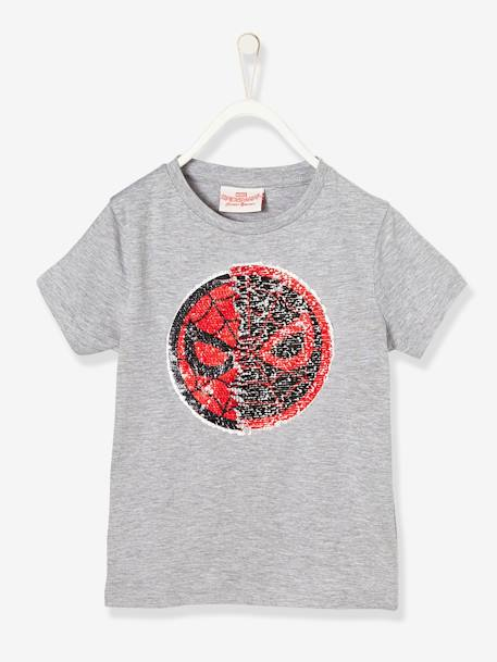 Boys' Spiderman® T-Shirt with Reversible Sequins GREY MEDIUM SOLID WITH DESIGN - vertbaudet enfant