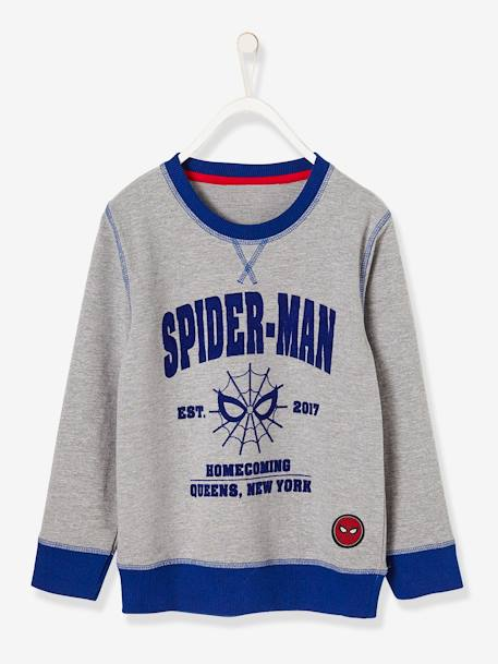 Boys' Long-Sleeved Spiderman® Sweatshirt GREY MEDIUM SOLID WITH DESIGN - vertbaudet enfant