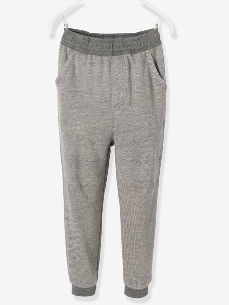 Boys' Tracksuit Bottoms in Decorative Fleece BLUE DARK SOLID+GREY MEDIUM SOLID - vertbaudet enfant