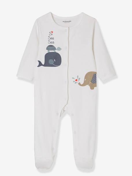 Babies' 2 Sets of Pyjamas, in Printed Cotton, Press Studs on the Front BLUE DARK TWO COLOR/MULTICOL - vertbaudet enfant