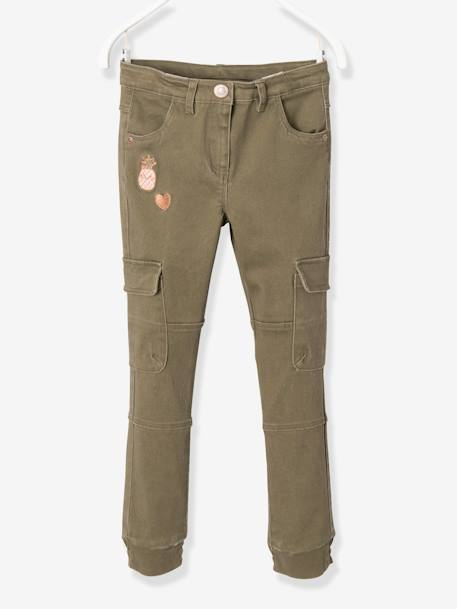 Pantalon slim battle fille Kaki+Rose blush - vertbaudet enfant