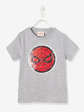Vertbaudet Collection-Boys' Spiderman® T-Shirt with Reversible Sequins