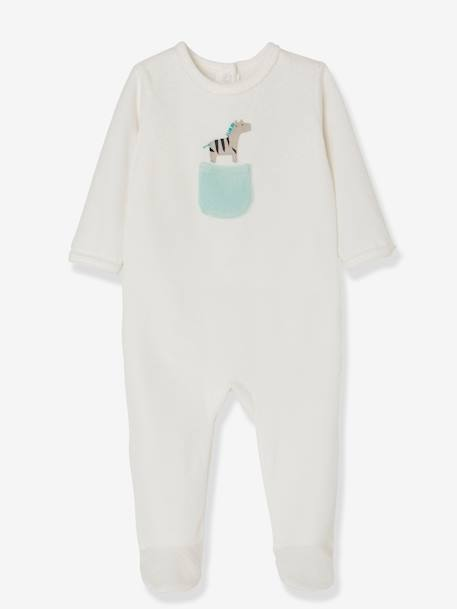 Babies' Pack of 2 Velour Pyjamas, Press-studs on the Back GREEN MEDIUM 2 COLOR/MULTICOLR - vertbaudet enfant