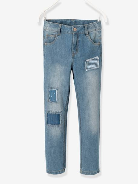 NARROW Fit - Boyfriend Jeans for Girls BLUE DARK WASCHED - vertbaudet enfant