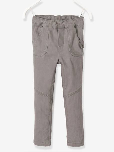 LARGE Fit, Boys' Slim Fit Trousers GREY DARK SOLID - vertbaudet enfant