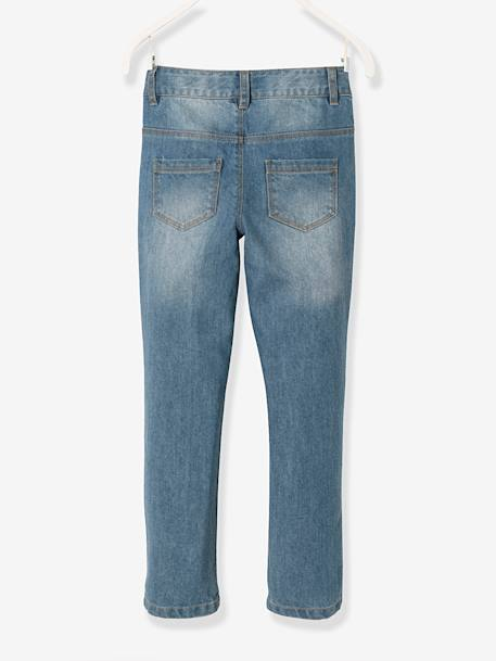 MEDIUM Fit - Girls' Boyfriend Jeans BLUE DARK WASCHED - vertbaudet enfant