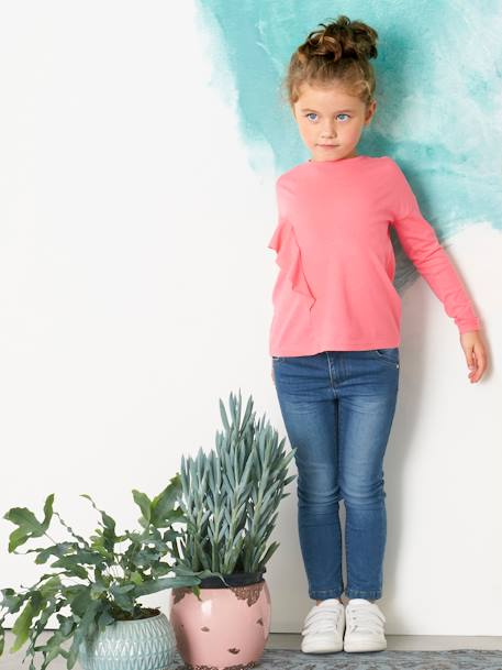Girls' Long-Sleeved T-shirt, with Frill PINK LIGHT SOLID - vertbaudet enfant