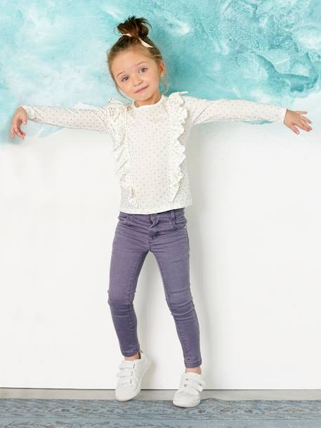 Girls' Top with Frills WHITE LIGHT ALL OVER PRINTED - vertbaudet enfant