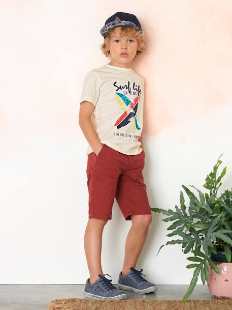 Boys' T-Shirt with Surf Print WHITE LIGHT SOLID WITH DESIGN - vertbaudet enfant