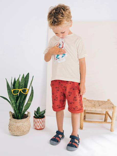Boys' Printed Bermuda Shorts in Fleece GREEN MEDIUM ALL OVER PRINTED+RED MEDIUM ALL OVER PRINTED - vertbaudet enfant