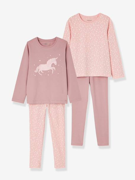 Girls' Pack of 2 Mix & Match Pyjamas PINK DARK 2 COLOR/MULTICOL OR - vertbaudet enfant
