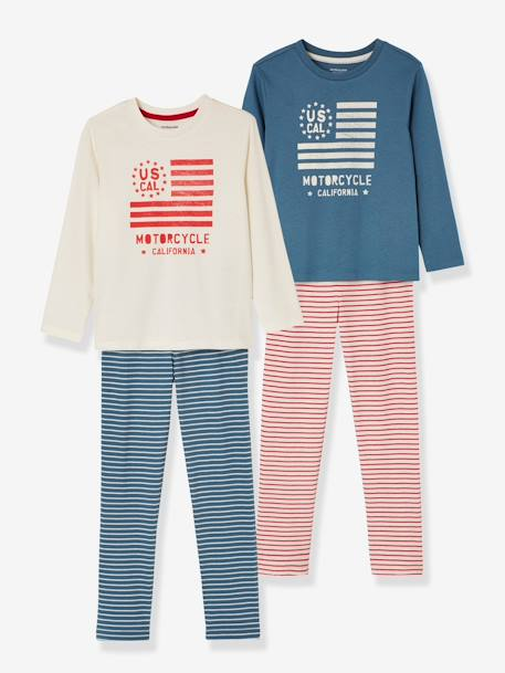 Boys' Pack of 2 Mix & Match Pyjamas BLUE BRIGHT 2 COLOR/MULTICOL - vertbaudet enfant
