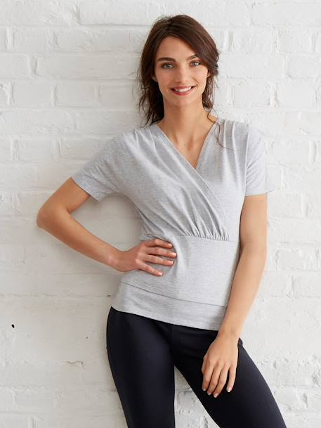 Women's Skin-to-Skin Nursing T-Shirt Grey - vertbaudet enfant