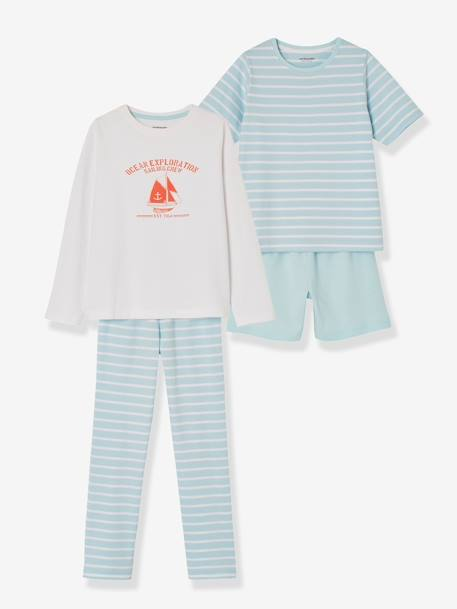 Boys' Pack of Mix & Match Pyjamas with Shorts + Pyjamas with Trouser Bottoms BLUE LIGHT TWO COLOR/MULTICOL - vertbaudet enfant