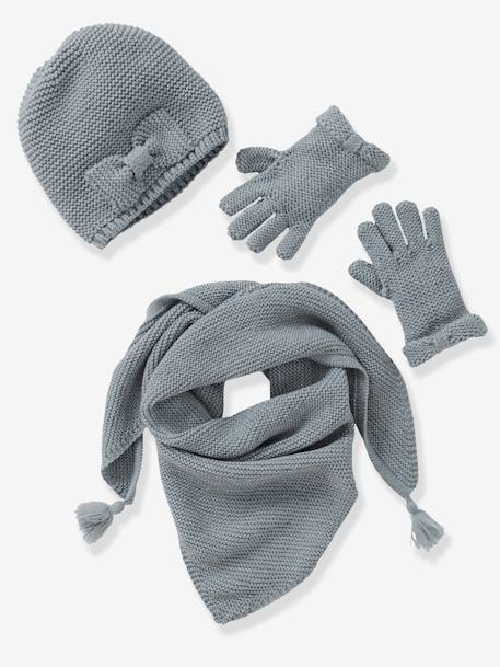 Girls' Hat, Scarf& Mittens or Gloves Set BLACK DARK SOLID+GREY MEDIUM SOLID+PINK MEDIUM SOLID - vertbaudet enfant