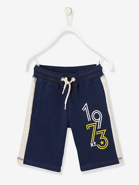 Boys' Fleece Bermuda Shorts BLUE DARK SOLID WITH DESIGN+GREY LIGHT MIXED COLOR+RED DARK SOLID WITH DESIGN - vertbaudet enfant