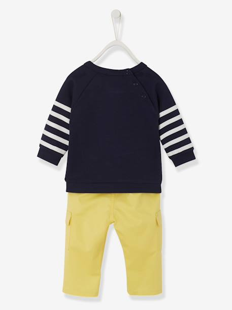 Baby Boys' Fleece Sweatshirt & Twill Trousers Outfit Set GREY MEDIUM MIXED COLOR+Ink + yellow pack - vertbaudet enfant