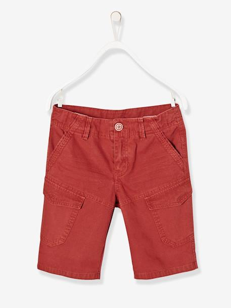 Boys' Military Style Bermuda Shorts BLUE DARK ALL OVER PRINTED+BROWN MEDIUM SOLID+GREEN LIGHT SOLID+RED MEDIUM SOLID - vertbaudet enfant