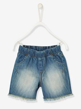 Outlet-Baby Boys' Denim Bermuda Shorts with Fringes