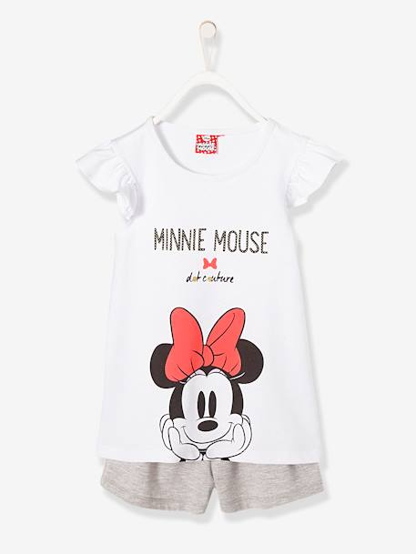 Girls' Printed Minnie® Pyjamas with Shorts WHITE MEDIUM 2 COLOR/MULTICOL - vertbaudet enfant