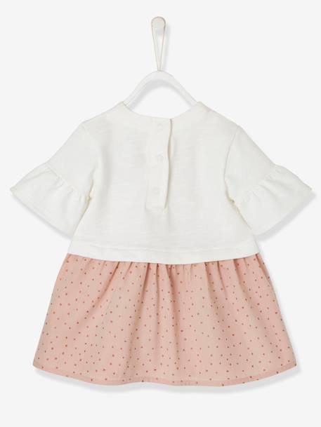 Babies' Dress with Stars and Sequinned Motif WHITE LIGHT SOLID WITH DESIGN - vertbaudet enfant