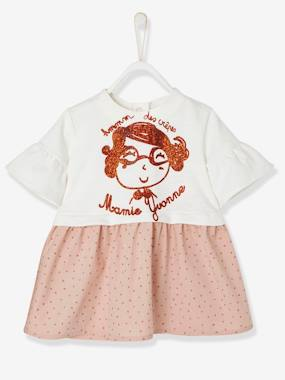 Baby-Dresses & Skirts-Babies' Dress with Stars and Sequinned Motif