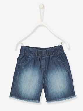 Megashop-Baby-Baby Boys' Denim Bermuda Shorts with Fringes