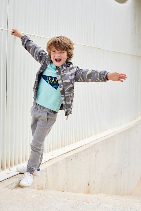 Boys' Printed Sweatshirt GREEN DARK ALL OVER PRINTED+GREEN LIGHT SOLID WITH DESIGN - vertbaudet enfant